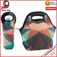 "hot seller insulated 4mm neoprene lunch bag tote handbag with 12"" big water bottle cooler colorful exterior cooler bag"