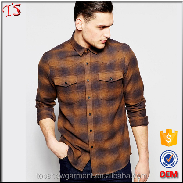 Fashion long sleeve western style mens flannel check shirt