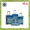 Blue Color Two Wheels PU Leather Material Flight 3 pcs Travel Bag Set