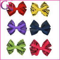 Wholesale Zebra Print Grosgrain Ribbon 4 Inch Hair Bow With Alligator Clip CNHBW-1307172