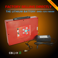Factory 12V lithium battery 60Ah 80AH 100Ah 160AH Discharge smart rechargeable 18650 case solar power bank