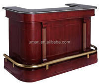 Mobile Wood and brass bar counter