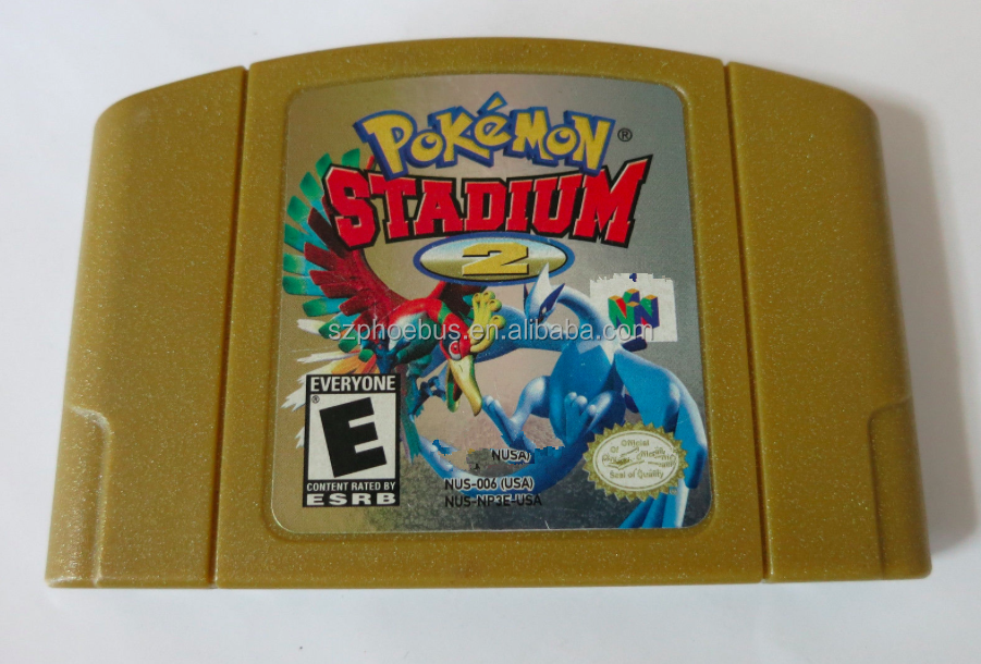 Tested Reproduction USA version for Nintendo 64 cartridge Pokemon Stadium 2 Gold case