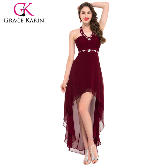 Grace Karin V-neck And Sexy Chiffon Halter Burgundy High-Low Prom Dresses 2016 GK000012-3