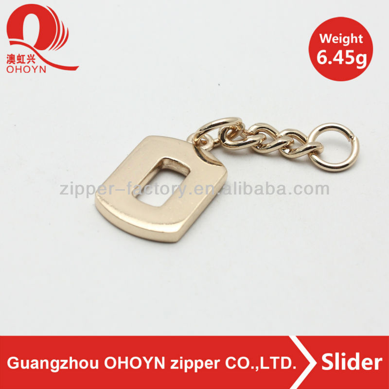 fashion light gold accessory zipper puller with chain