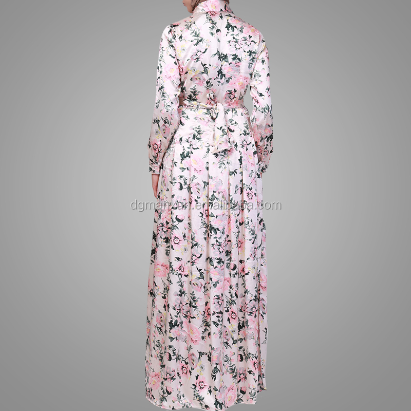 Modest Long Dress 2018 Beautiful Flower Printed Muslim Polo Neck Women's Abaya High Quality Turkish Clothes Dress