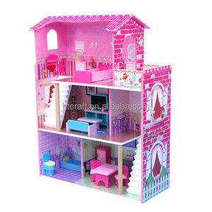 60x34x(H)92.5cm E1 MDF Easy Assembly Triple Storeys Wooden Toy House For Wholesale, Small Type Toy Wooden House