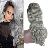 Silky body wave dark roots gray human hair grey full lace wig for black women