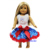 "18"" American Girl Doll 4th July Patriotic Princess Star Pettiskirt Party Dress"