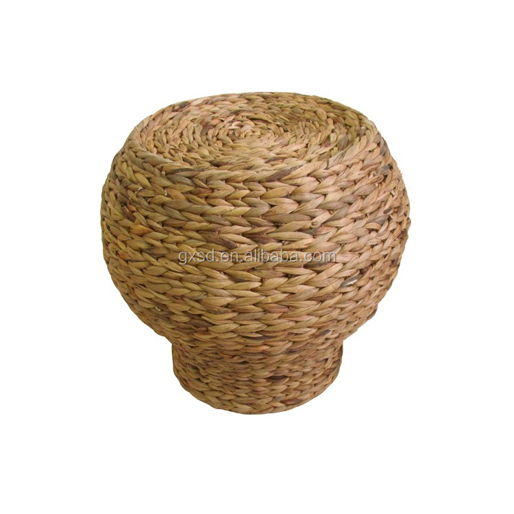 New vintage style Natural water hyacinth hand woven foot stool