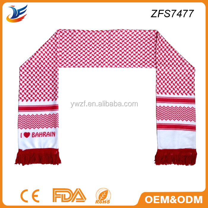 Bahrain football scarf Bahrain National Day scarf for promotion gift