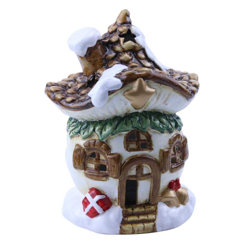 Pine cone Shaped ceramic Christmas house statue with LED light for <strong>Decoration</strong>