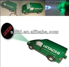 2014 new 3D plastic mini Car Shape Led Projection Keychain for promotion