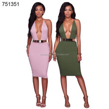 Guangzhou factory wholesale african clothes sexy bodycon V-neck dresses for ladies