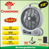 rechargeable fan light with FM 88-108 radio with led