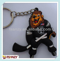 3D cartoon soft pvc hockey player key tag keychain
