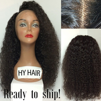Free Shipping Virgin Human Hair Lace Front Wig Afro Kinky Curly Half Wig With Free Lace Wig Samples
