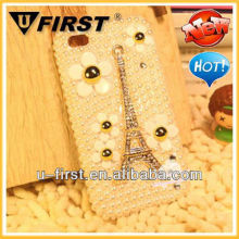 Newest Paris Tower pearl case for iphone 4 4s /Luxurious pearl case for iphone4 4S