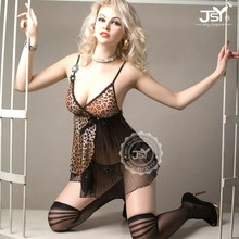 Top Satin Slip Black Transparent Mature Women Leopard Sex Babydoll Sexy Dress Lingerie For Erotic Ladies