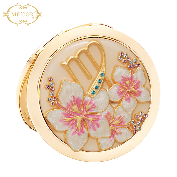 fashion printing folding compact makeup mirror for constellation