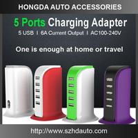 Accept OEM sevice China 5 USB Ports Universal 5V 6A multi mobile phone travel charger
