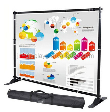 china supply backdrop slim wall 8ft 10ft 12ft Adjustable Telescopic Trade Show backdrop jumbo Banner Stand