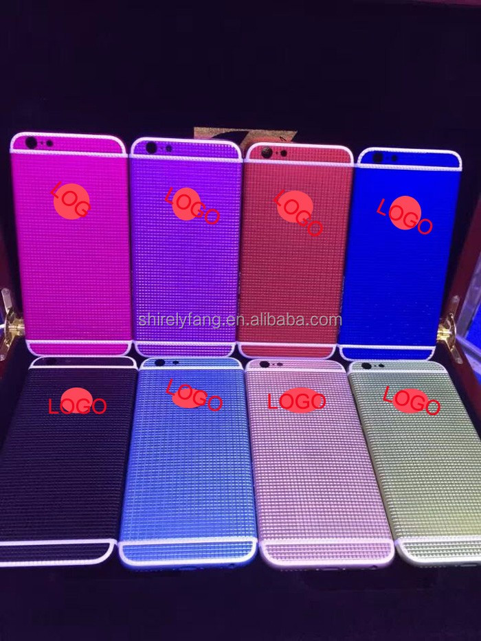 colorful New design clous de Paris design grid matte black back cover housing for iPhone 6,accept customize