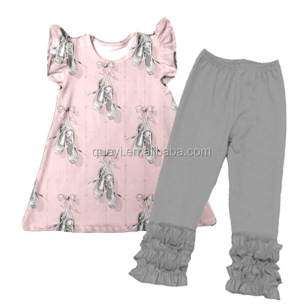 Fancy Design Young kids Clothing gray Pink Boots Tank Bloomers Girl Clothing Set Infant Toddler Summer Apparal