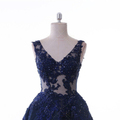 Navy Blue Party Dress Beaded Lace Ball Gown Middle East Factory Evening Dresses
