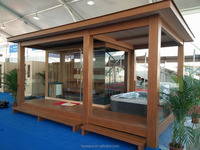 Prefabricated wooden house gazebo with Outdoor Sauna Room steam shower FS-LT06