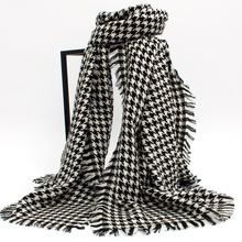 Ladies European classic black and white big Houndstooth Wool Shawl Scarf winter and long paragraph