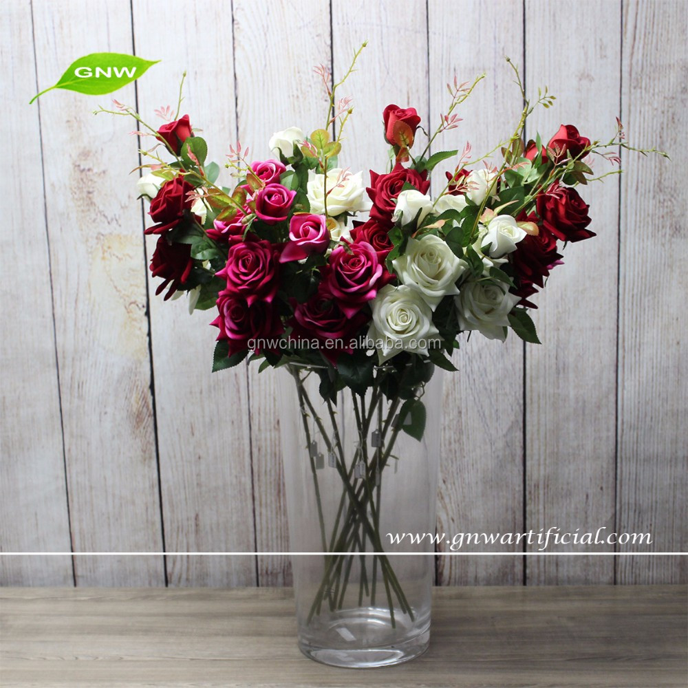 GNW FL-RS50-3-10CM Low price wholesale 3x heads long stem artificial rose flower for wedding