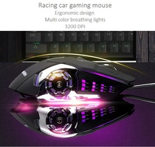 3200 DPI Mechanical gaming Mice Racing car Optical Ergonomic gaming mouse with breathing backlit