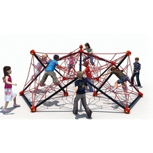 Outdoor polyhedron climbing rope net tranin playground with children