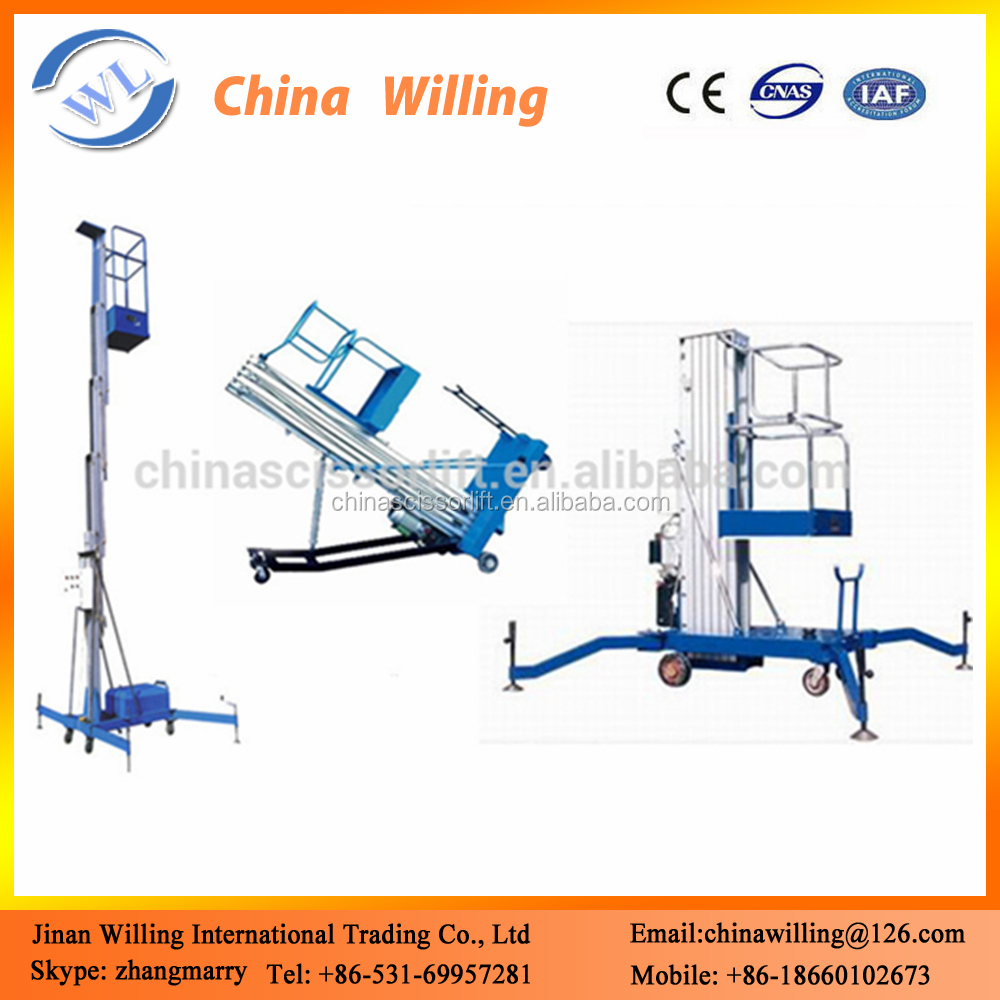 Single Pole Moble Man Lift /Electric Automatic Aluminum Lifts