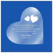 loving heart shape frosted cheap acrylic wedding invitation