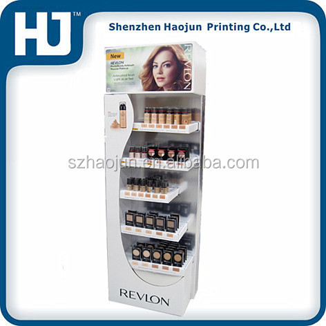 Advertising cardboard cosmetic display stand for REVLON, foundation make-up cardboard display stands