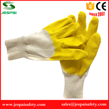 yellow Latex coated cotton chore gloves