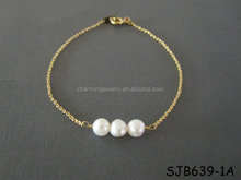 Gold Plated Freshwater Pearl Bar Bracelet For Friendship