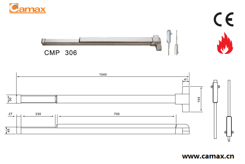 CMP306 CE and fire rated for Emergency Door Exit Hardware anti panic bar