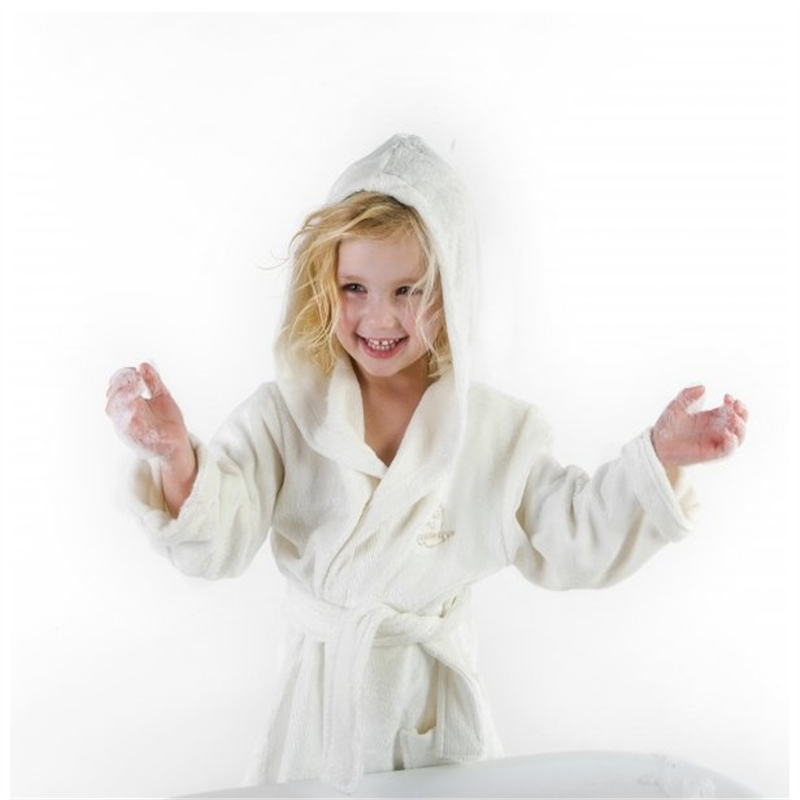 white luxury organic cotton toddler bath robe