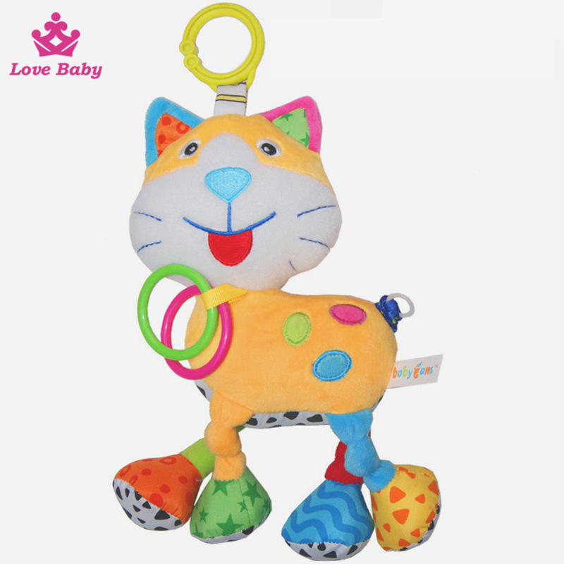 Latest Baby Cute Cat Shaped Plush Music Voice Flexible Puppet Educational Hanging Toys