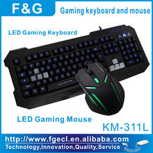 2013 new and hot selling led gaming keyboard and mouse combo