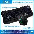 New and hot selling led gaming keyboard and mouse combo