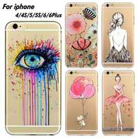 Phone Case Cover For iPhone 4 4S 5 5S 6 6s 6plus Ultra Soft Silicon Transparent Lovely Eyes Girl Flowers Printed