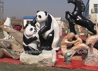 Lovely stone carving pandas sculpture