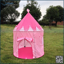 Hot Sale Pink Color Glow In Dark 190T Polyester Princess Castle Play Tent For Kids
