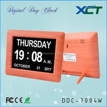 7 inch new wood frame Non-Abbreviated big time digital wall clock for memory loss for elderly for dementia DDC-7004W