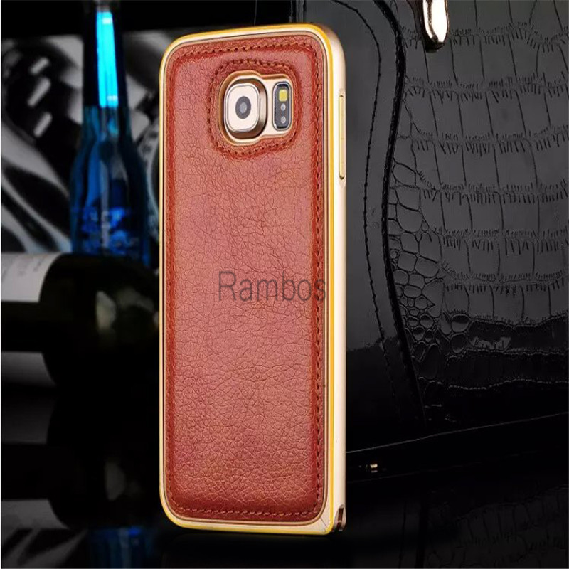 S6 / S6 Edge Case Cover Metal Bumper Genuine Leather Back Cover Case Coque for Samsung Galaxy S4 / S5 for iphone 6 / 6 Plus
