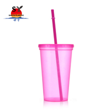 Direct factory wholesale red yellow clear insulated thermal coffee plastic double wall tumbler cup with straw